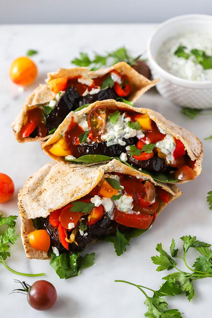 Roasted Eggplant and Pepper Pita Sandwich with tzatziki and feta | #vegetarian