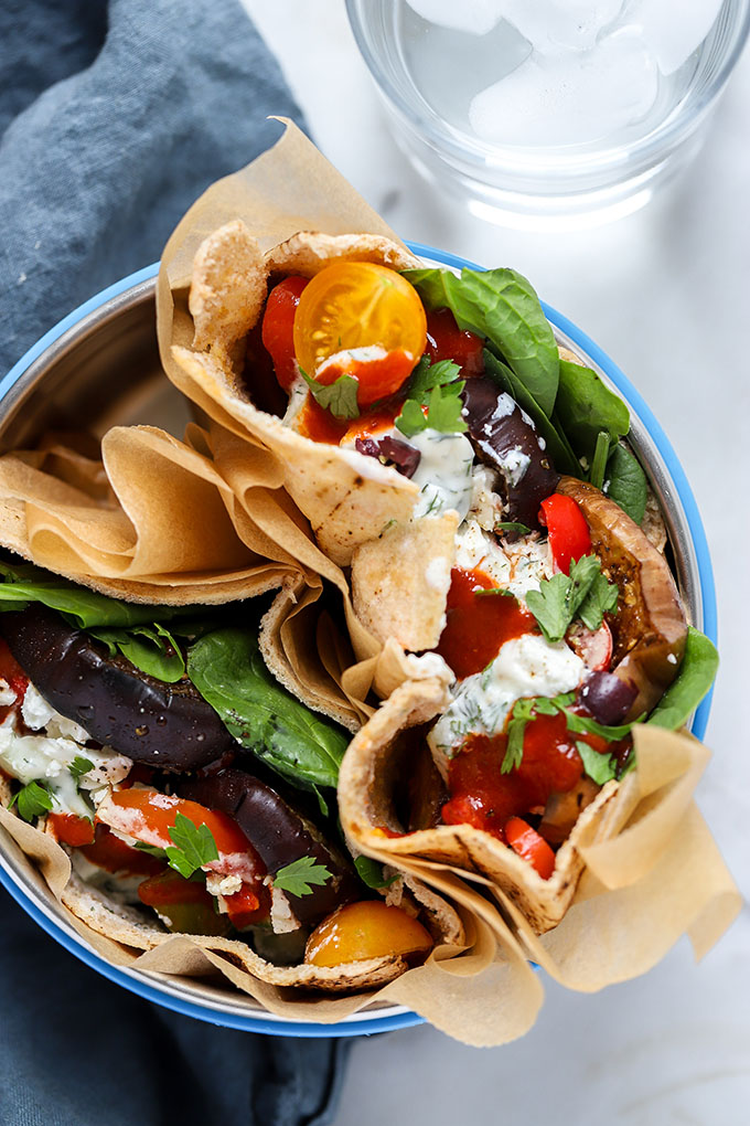 Roasted Eggplant and Pepper Pita Sandwich | The vegetarian sandwich is stuffed full of flavor!