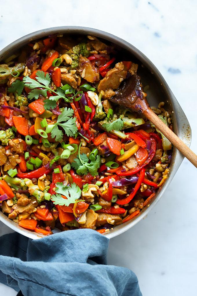 Vegan Cashew Chicken Stir Fry