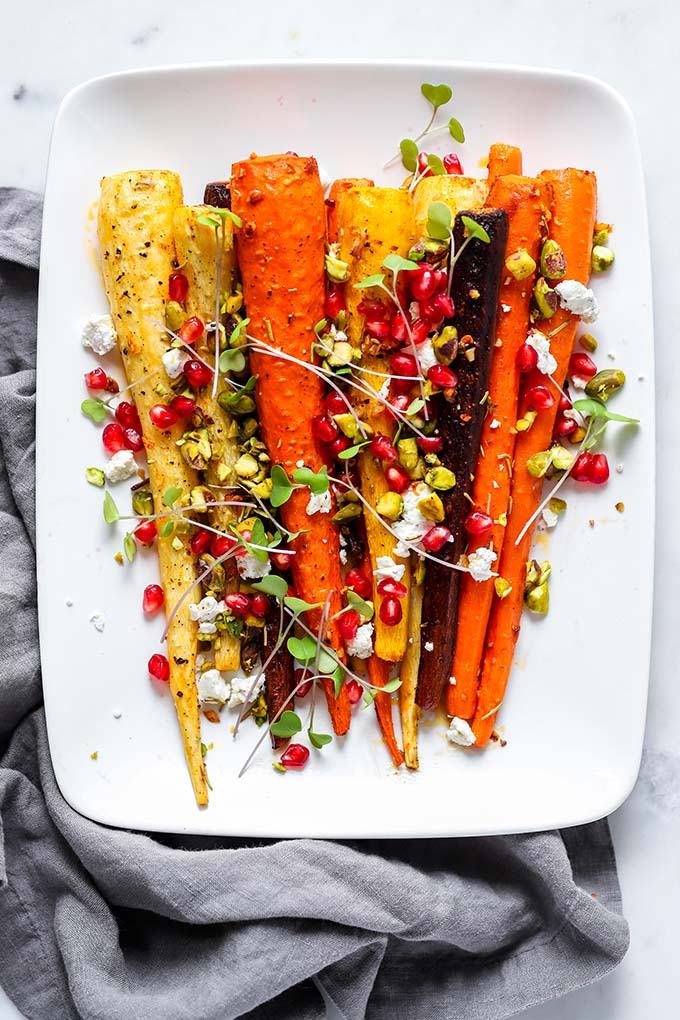 Rosemary Roasted Carrots with Goat Cheese and Pomegranate